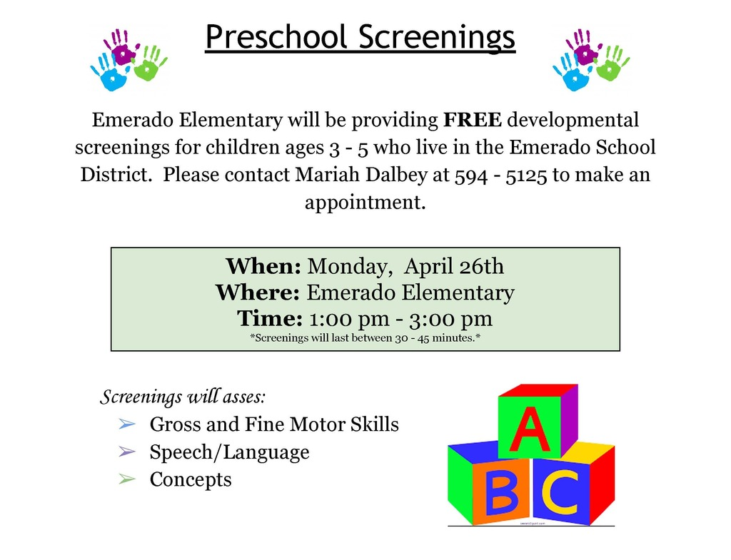Preschool Screening  - April 26, 2021
