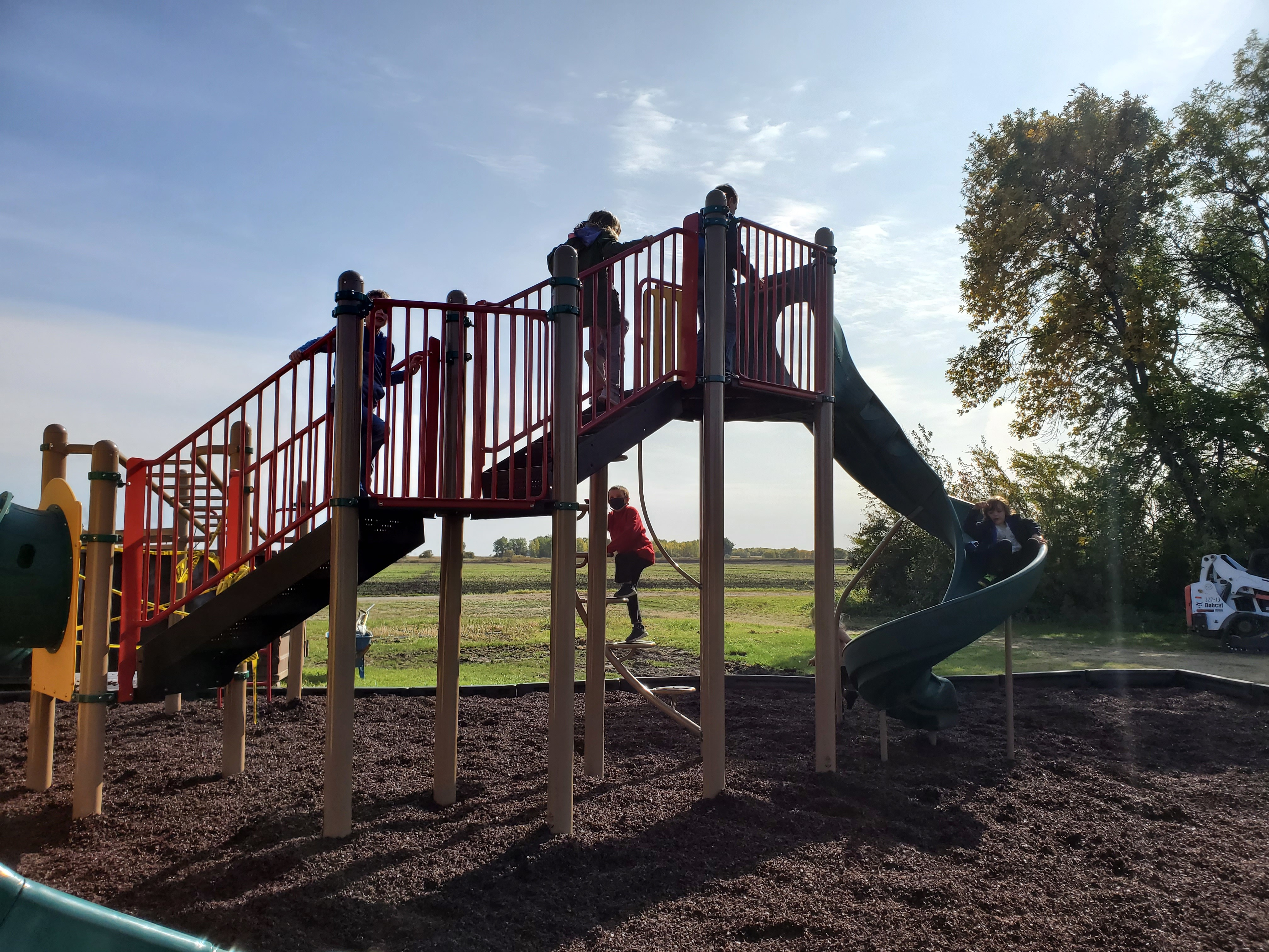The new walkway and slide on the new playground
